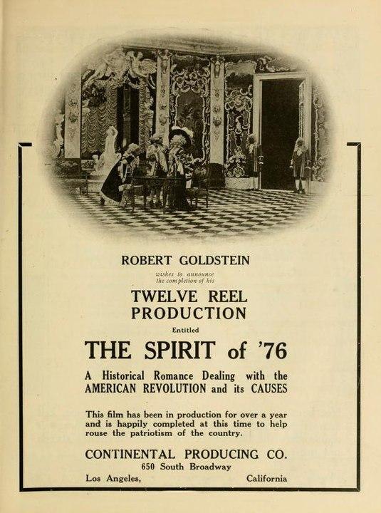 Реклама немого фильма Дух 76 года https://commons.wikimedia.org/w/index.php?curid=47086422