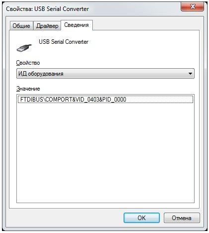 Экран диспетчера устройств с выставленным PID 0000